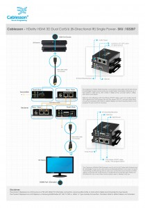 Cablesson HDelity HDMI 3D Dual Cat5/6 (Bi-Directional IR) Single Power