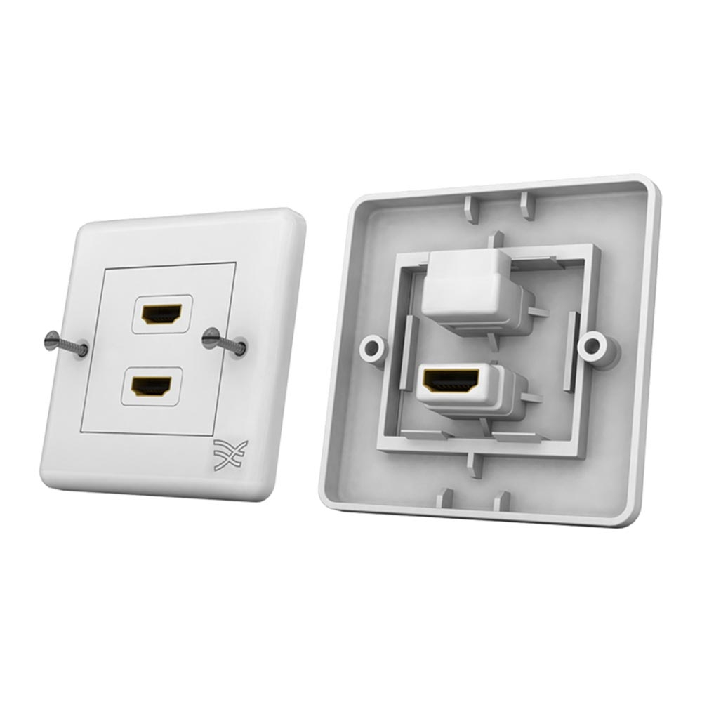 hdmi wall plate dual connector s a white cablesson. Black Bedroom Furniture Sets. Home Design Ideas