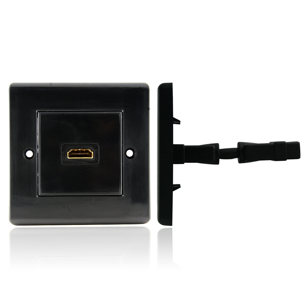 hdmi wall plate single connector 100 black